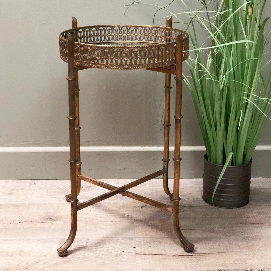 Elegant Gold Mirrored Tray Table Farthing The Farthing