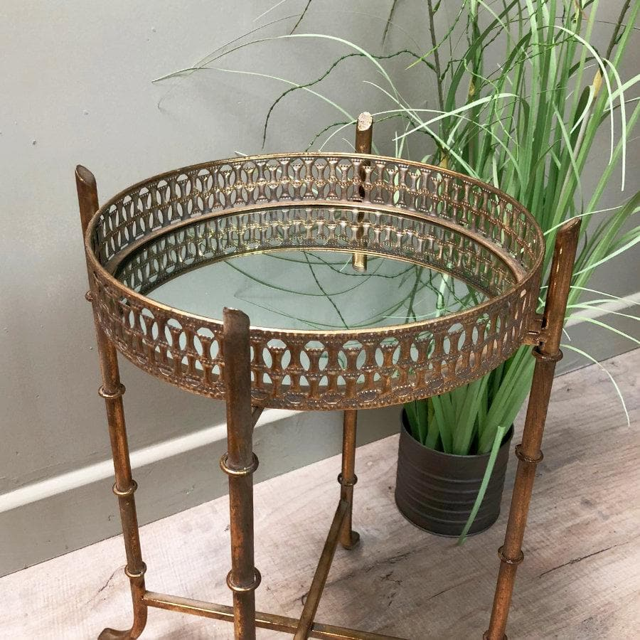 Elegant Gold Mirrored Tray Table at the Farthing 2