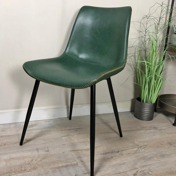 Emerald Green Faux Leather Dining Chair | Farthing