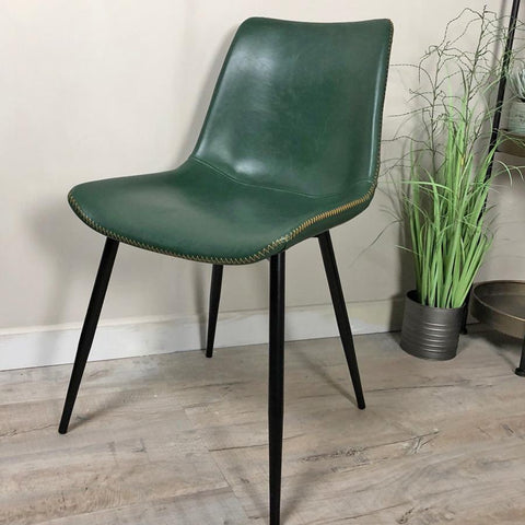 Amazing Emerald Green Faux Leather Dining Chair | Farthing