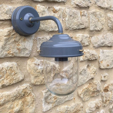 Exterior Barn Wall Light in Charcoal & Brass - The Farthing