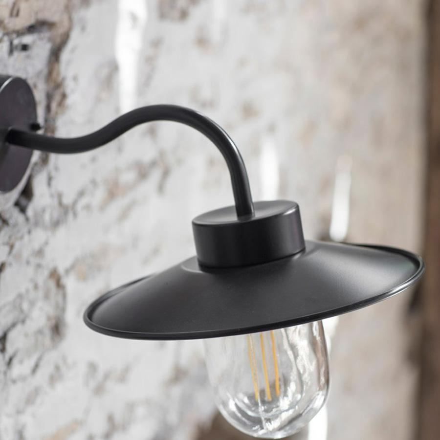 Exterior Swan Neck Light in Carbon - Steel | Farthing