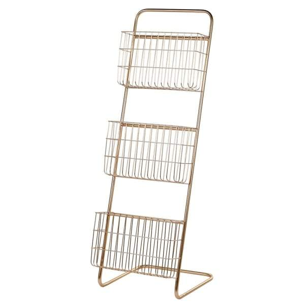 Gold Wire 3 Tier Storage / Magazine Rack