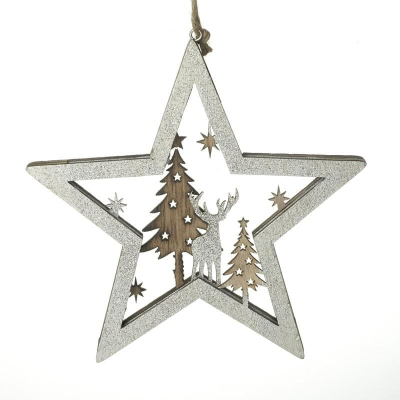 Hanging Wooden Festive Star at the Farthing