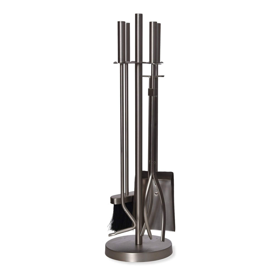 Steel Round Fireside Companion Set - Silver