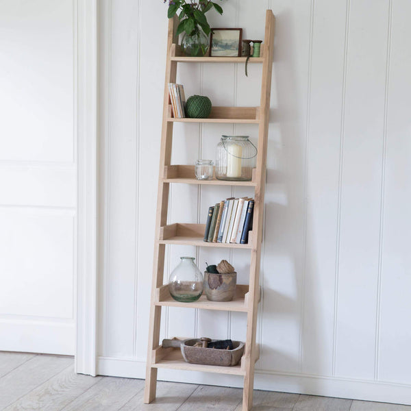 Natural Raw Oak Shelf Ladder at the farthing