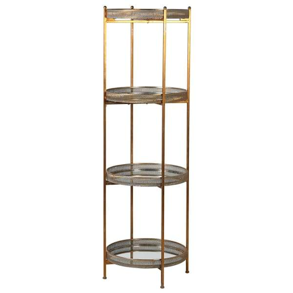 Burnished Gold Mirrored Filigree 4 Tier Shelf