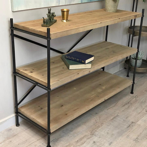 Factory 3 Layer Shelving Unit - Wood & Metal
