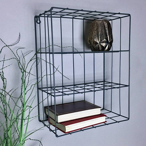 Wirework Shelf Wall Crate - Grey - The Farthing