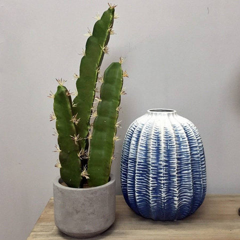 Tall Faux Cacti in Cement Pot - The Farthing