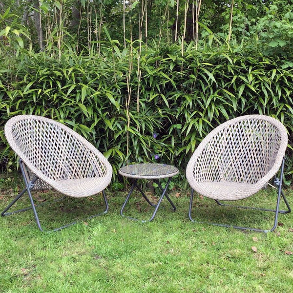 Faux Rattan Folding Garden Lounge Set with Table - Clay - The Farthing