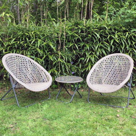 Faux Rattan Folding Garden Lounge Set With Table   Clay   The Farthing