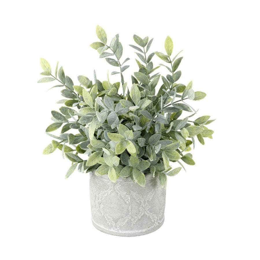 Faux Potted Sage In Cement Pot