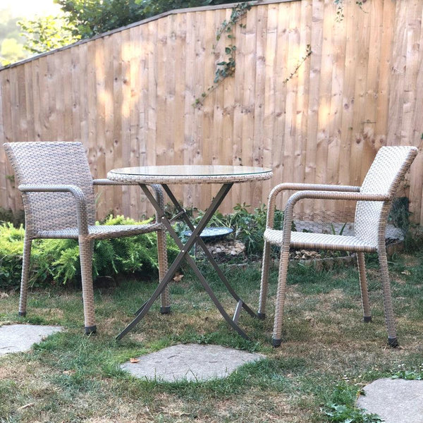 Faux Rattan Tyneham Bistro Set - Clay | The Farthing