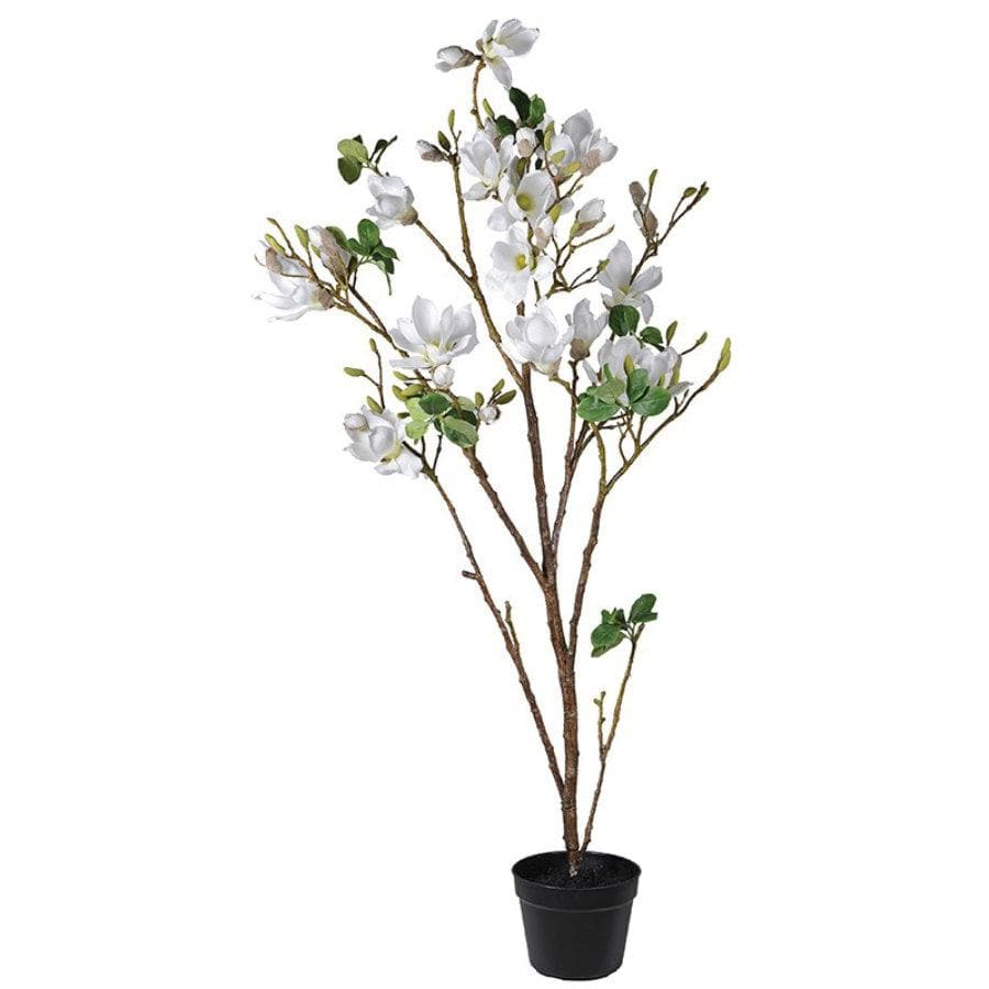 Faux White Magnolia Tree in Pot