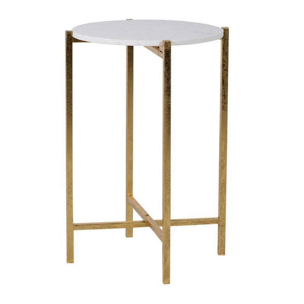 Faux White Marble Top Gold Side Table | The Farthing