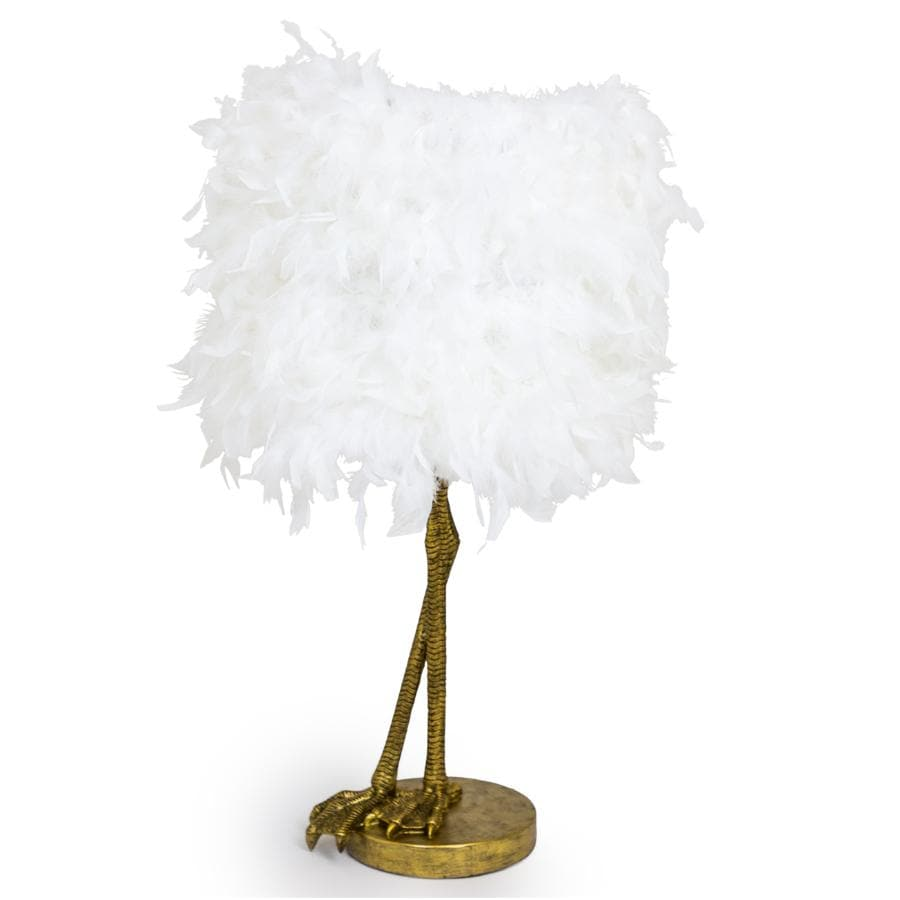 Feather Shade Bird Leg Table Lamp - gold at the Farthing