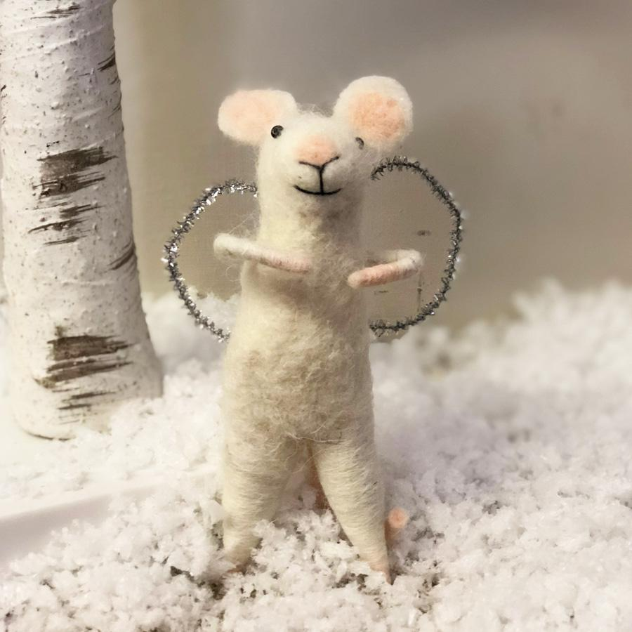 Felt Christmas Angel Mouse Decoration