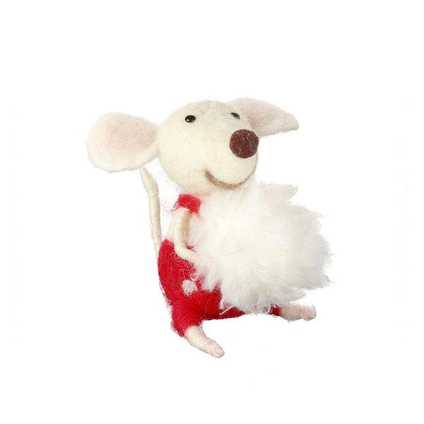 Felt Mouse with Snowball - Tree Decoration