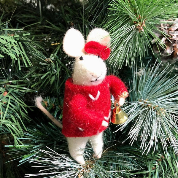 Festive Bell Ringing Felt Christmas Mouse at the Farthing 2