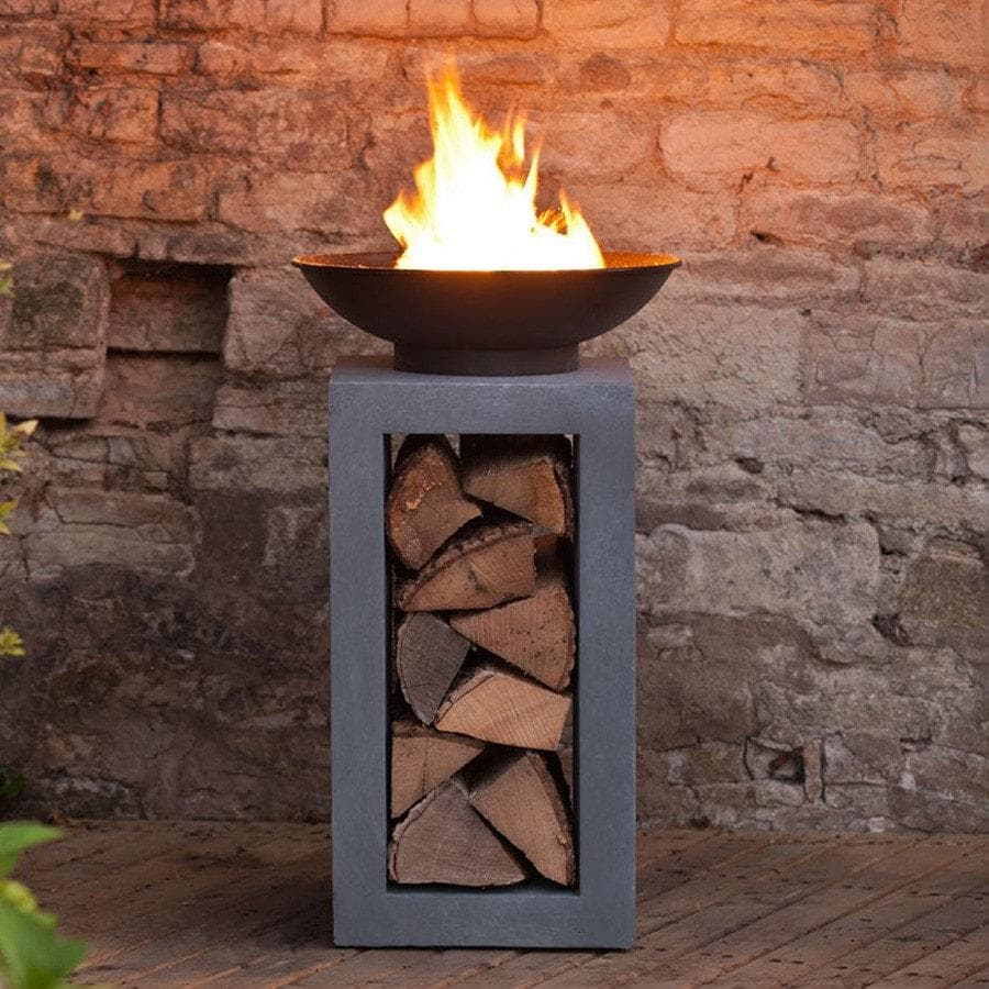 Fire Bowl With Square Cement Fibre Stand & Log Holder 2