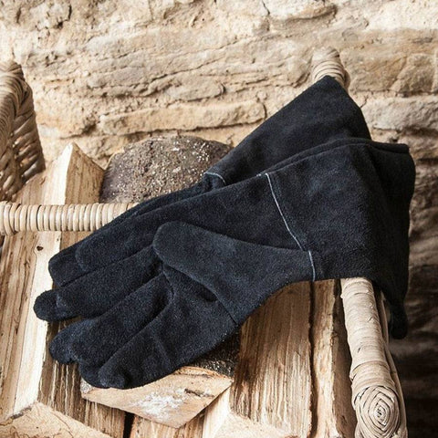 Fireside Leather Gauntlet Gloves - Black - The Farthing
