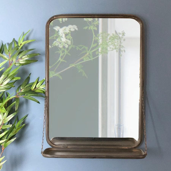 Floating Shelf Distressed Portrait Mirror at the Farthing