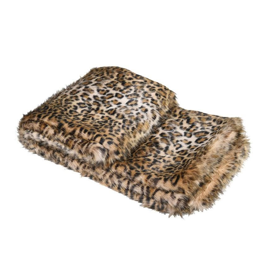 Fluffy Leopard Print Faux Fur Throw at the Farthing