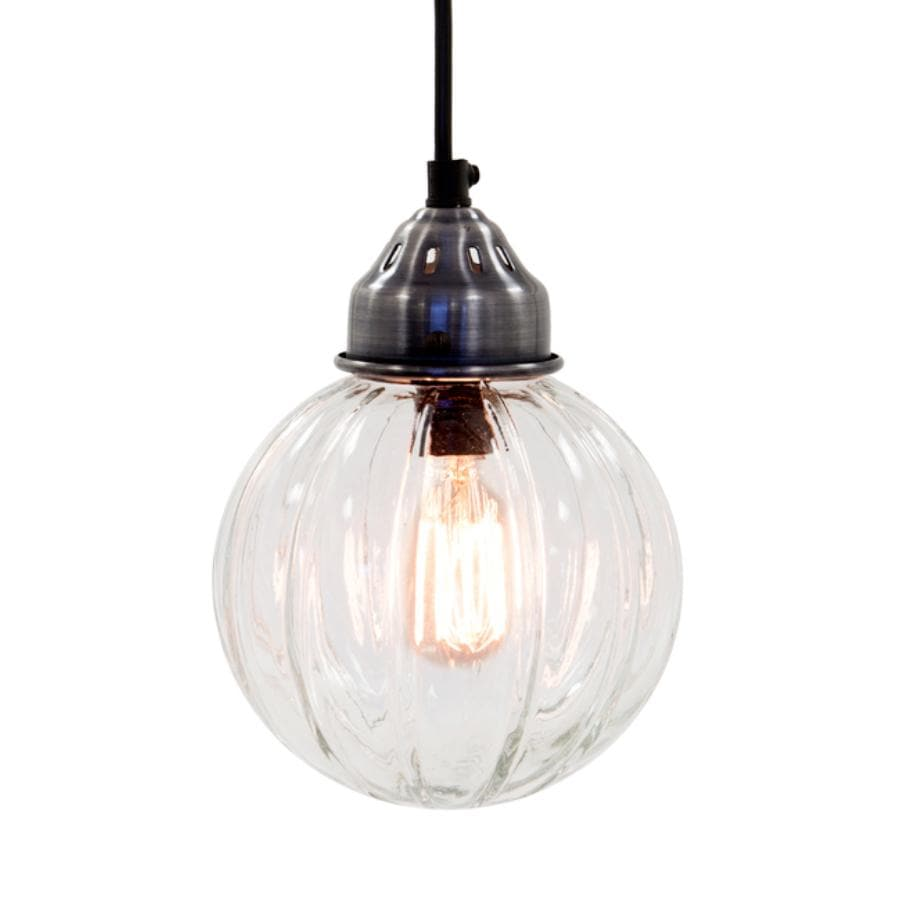Fluted Glass Pendant Light - Round