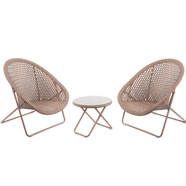 Folding Garden Lounge Set with Table - Copper