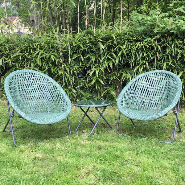 Folding Garden Lounge Set with Table - Eau de Nil - The Farthing