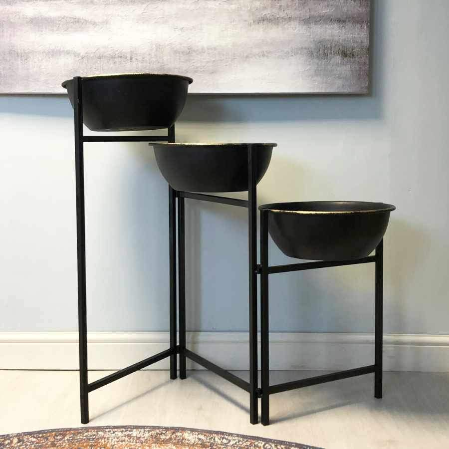Folding Raised Three Bowl Plant Pot Stand | The Farthing