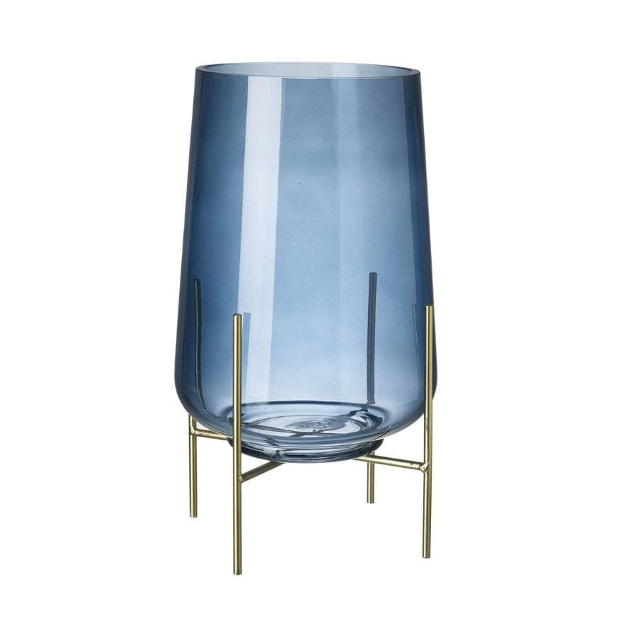 Footed Glass Vase - Blue at the farthing