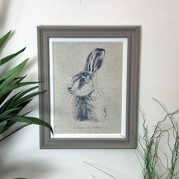 Framed Hare Print - Period Grey - The Farthing