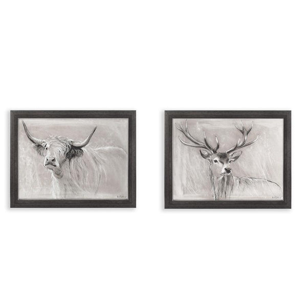 Framed Highland Deer & Cattle Prints at he Farthing