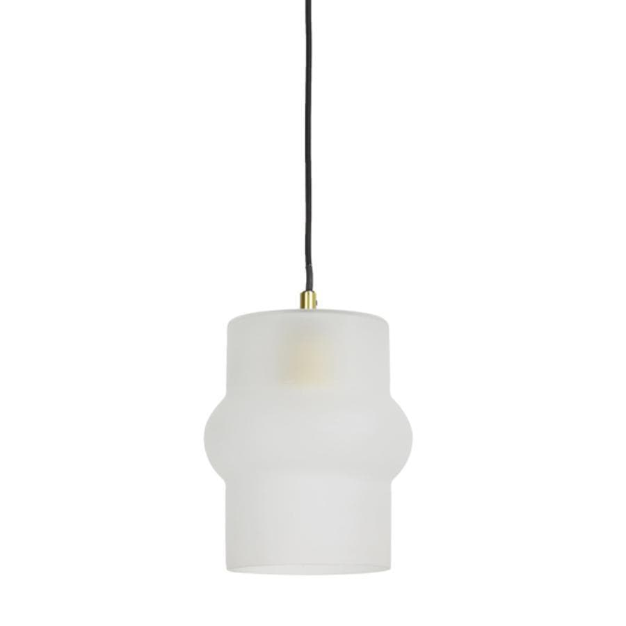 Frosted Glass & Gold Cylinder Pendant Light at the Farthing
