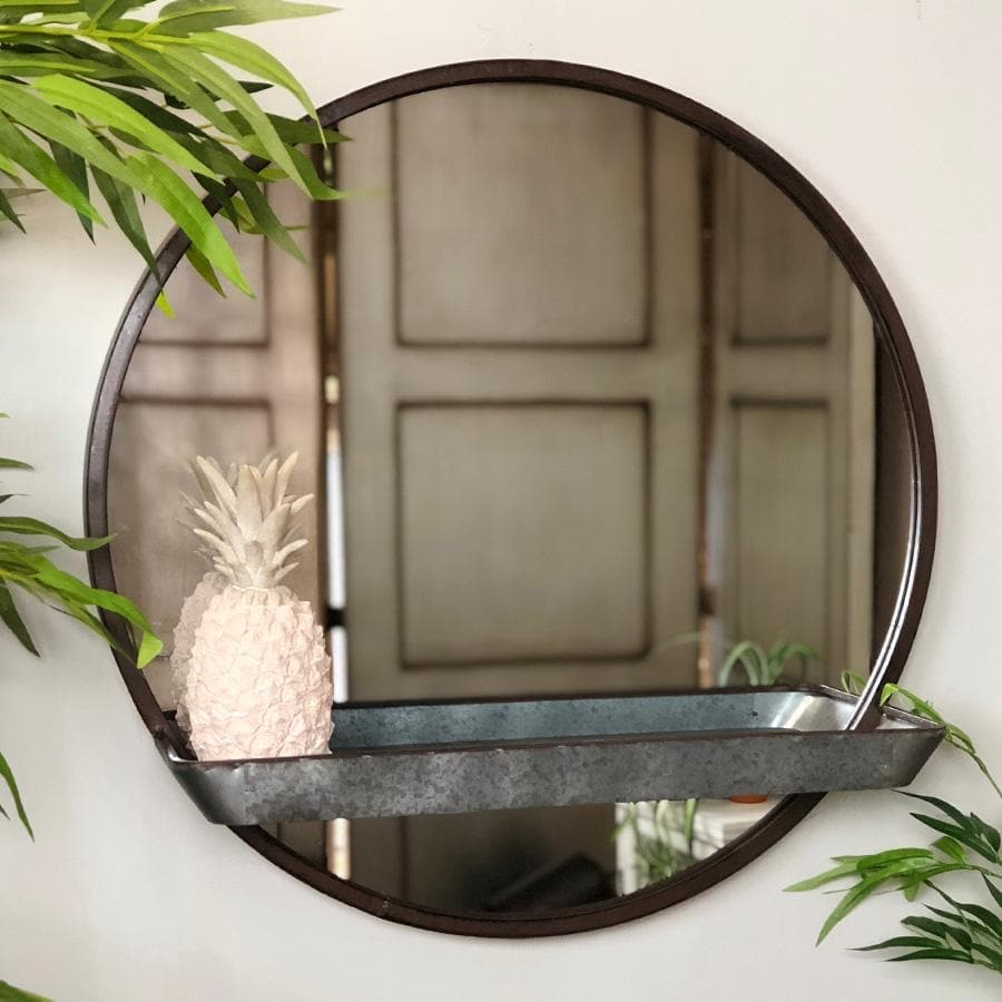 Galvanised Metal Wall Mirror with Shelf | Farthing 4
