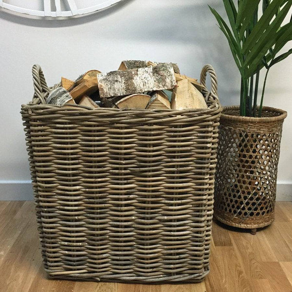 Extra Large Square Wicker Log Basket with Handles - The Farthing  - 1