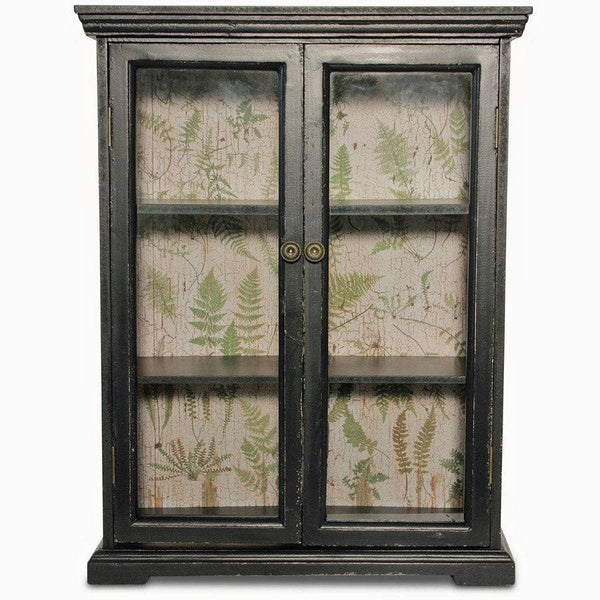 Glass Fronted Angel Ferns Double Door Wall Cabinet - The Farthing  - 1