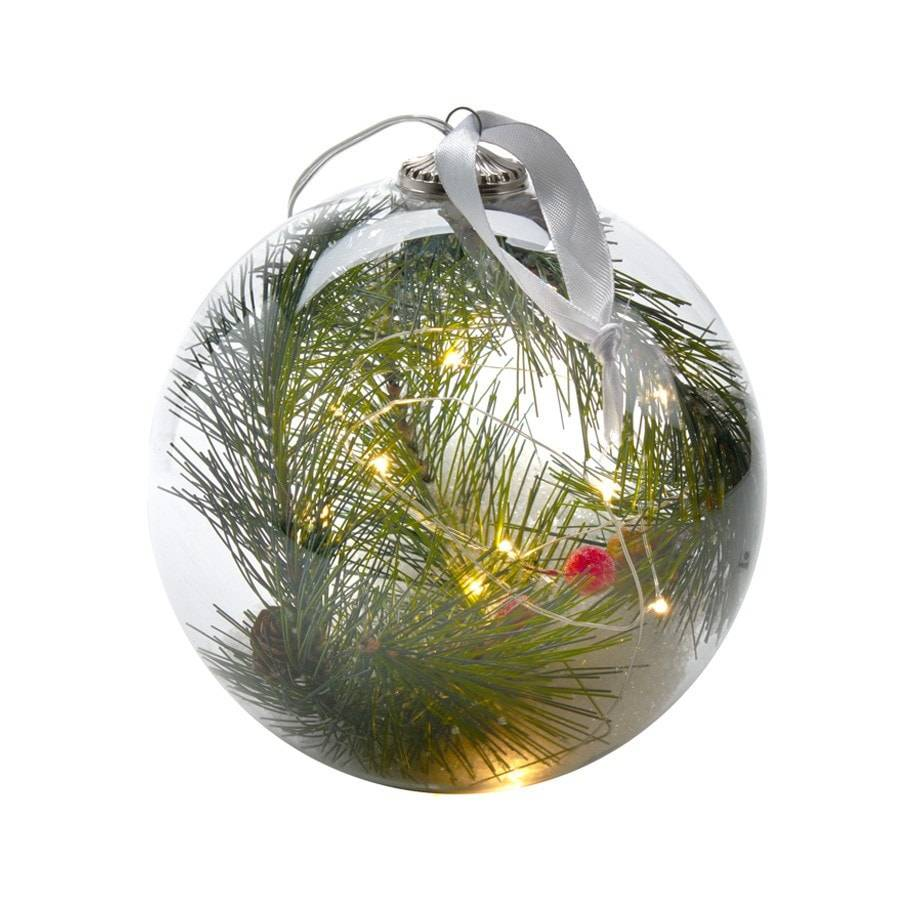 Large Glass Led Light Up Christmas Fir Bauble - The Farthing  - 1