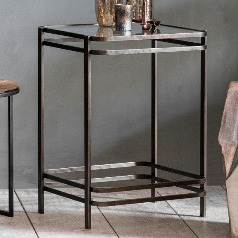 Glass Topped Industrial Side Table at the Farthing