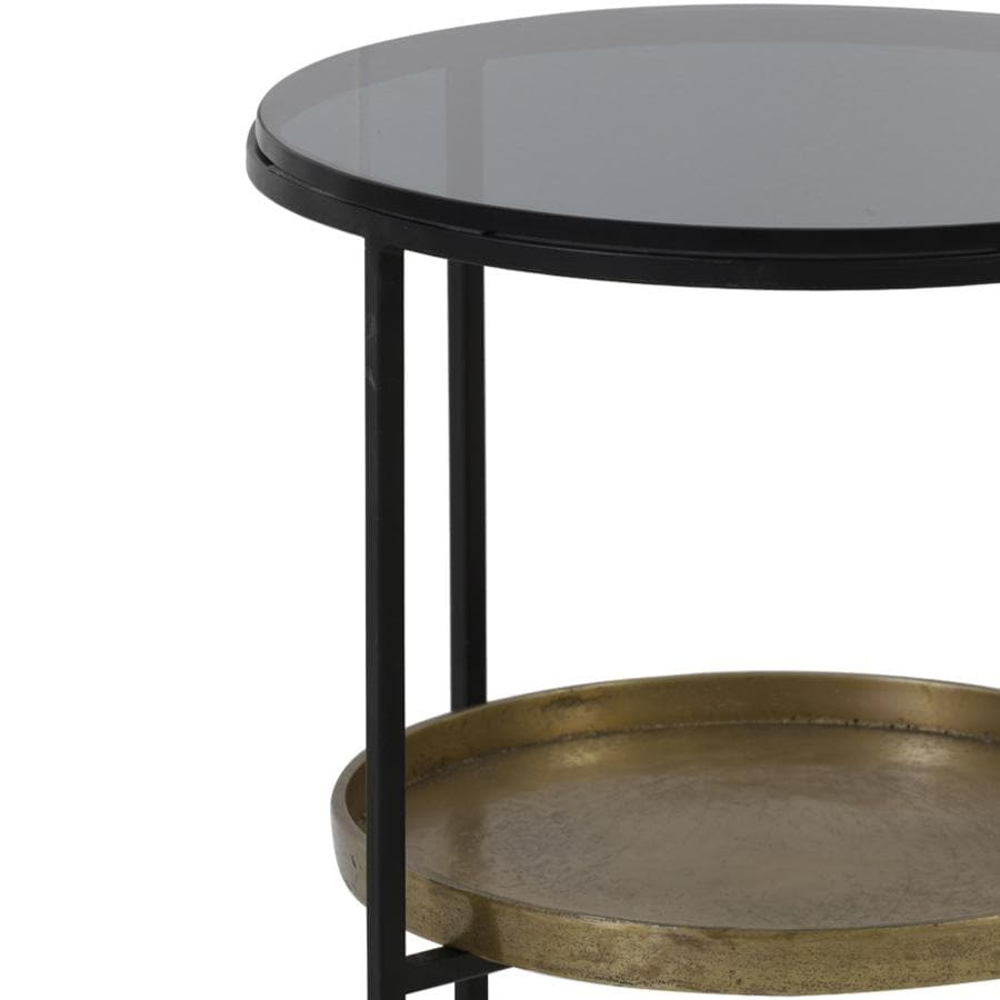 Glass Topped Side Table with Bronze Shelf at the Farthing