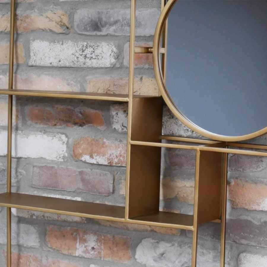 Gold Metal Wall Storage with Tilting Mirror at the Farthing