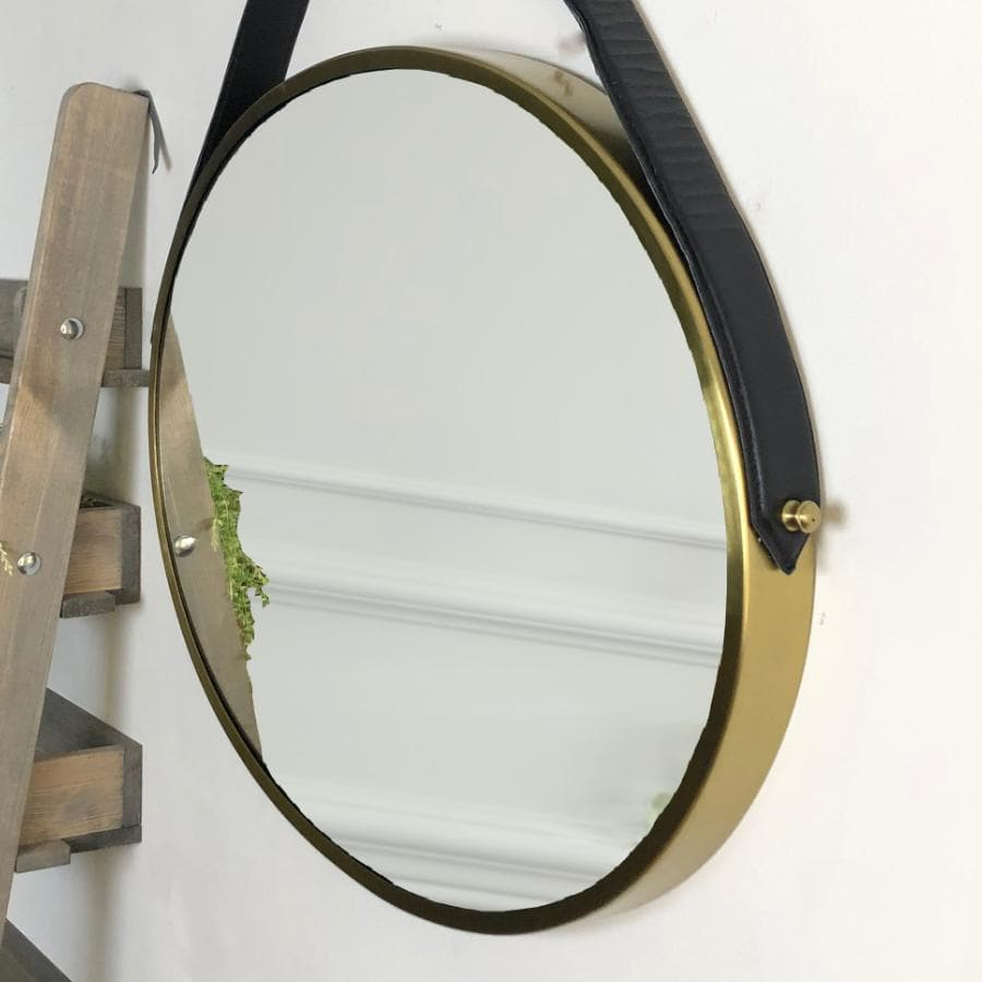 Gold Oval Hanging Strap Mirror at the Farthing  2