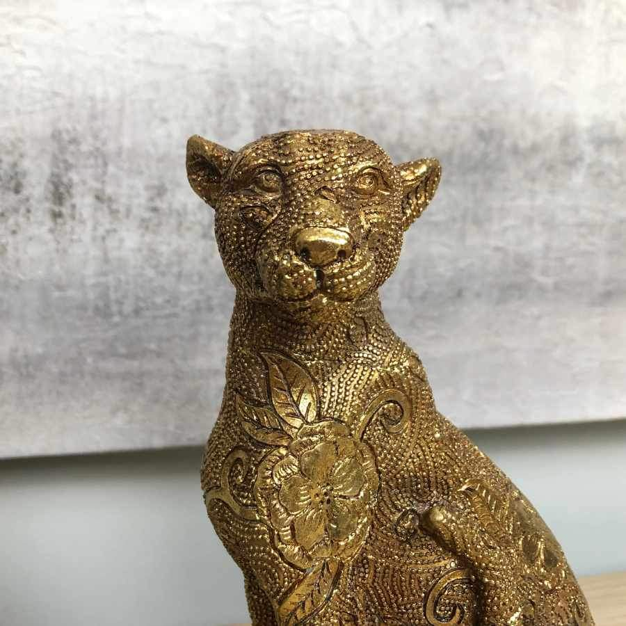 Gold Patterned Leopard Ornament at the Farthing