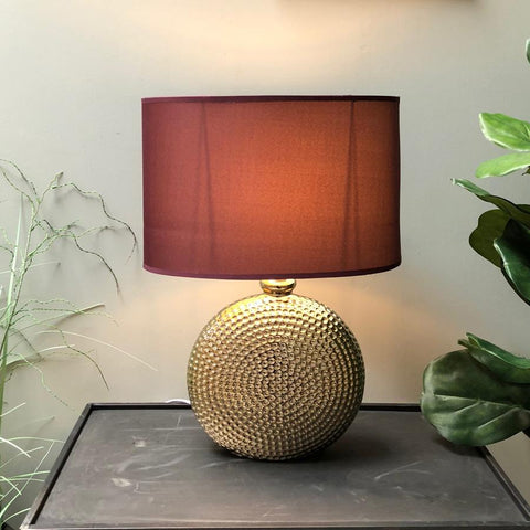 Golden Circles Table Lamp & Burgundy Shade at the Farthing 1