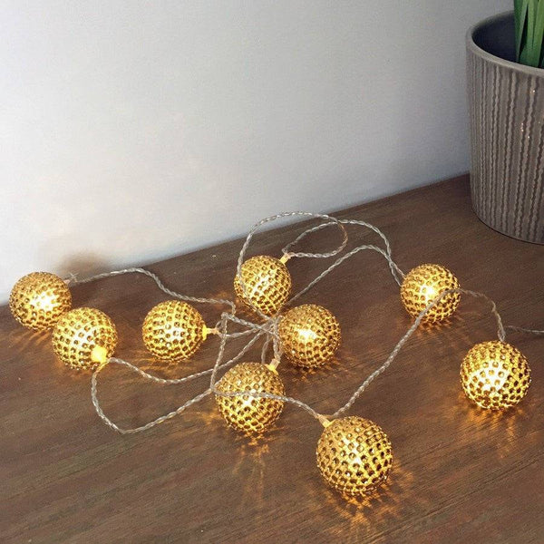 Golden Sequins String Light Garland - The Farthing