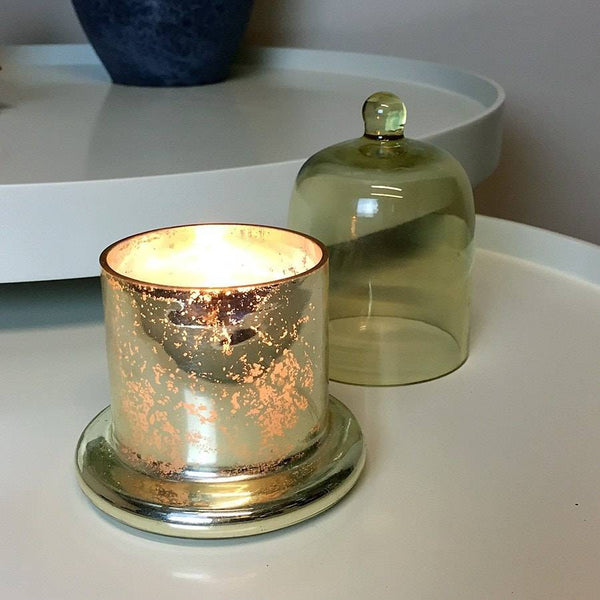 Golden Votive Candle and Glass Bell Cloche Dome - The Farthing