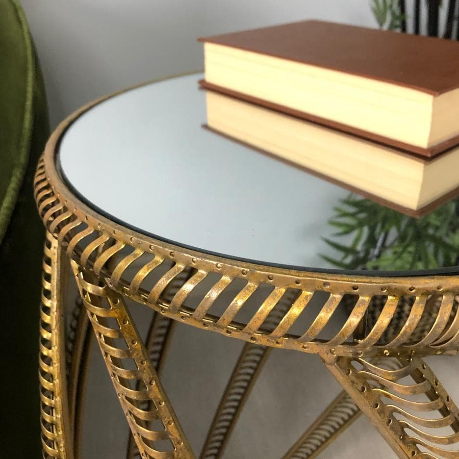 Golden Distressed Lattice Side Table with Mirror Top | Farthing