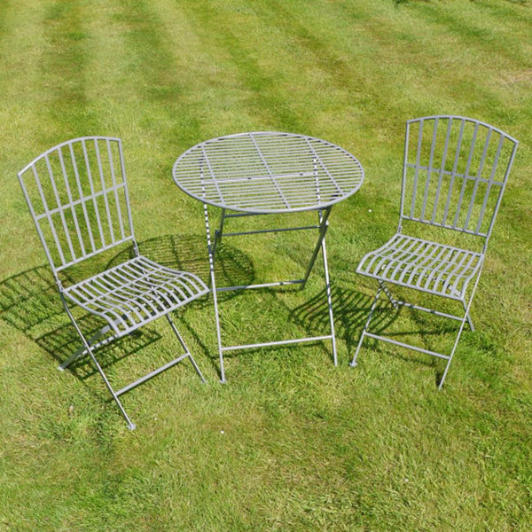 Grey Metal Bistro Set of Table & Two Chairs | Farthing